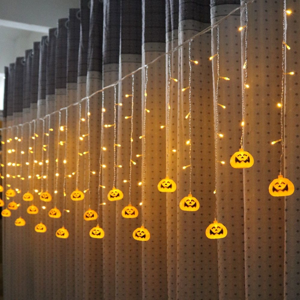 20mm 100pcs lot pumpkin face printed two sides on pearls for halloween holiday decoration for jewelry making LED Pumpkin String Lights 3.5M 5M  Pumpkin Ghost Skull Halloween Decoration Icicle Curtain Light for Fall Halloween Thanksgiving