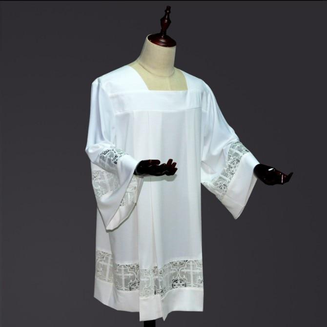 زي كاهن ، ملابس بيضاء صغيرة مع دانتيل ، زي كنيسة مسيحية كاثوليكية للرجال ، زي كاهن ، مجموعة جديدة