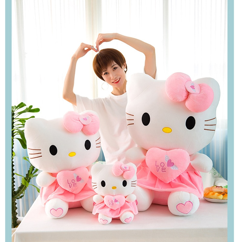 55cm Lovely Cat Pillow Hello Plush Toy Stuffed Toy Cat Dolls Anime Figure Toys for Children Doll for Kid Baby Birthday Gifts pj masks greg luxury cat car connor cat kid owl girl flying wall man anime figures toys for children birthday gift 7d08