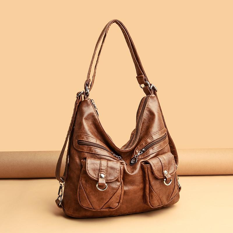 حقيبة يد جلدية عتيقة ذات سعة كبيرة للنساء ، حقيبة كتف ، حقيبة حمل