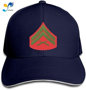 U.S.M.C E-4 Corporal Green RED Chevron Men Cotton Classic Baseball Cap Adjustable Size