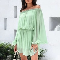 2021 europe america womens solid color high waist one shoulder temperament commute green loose casual summer dress