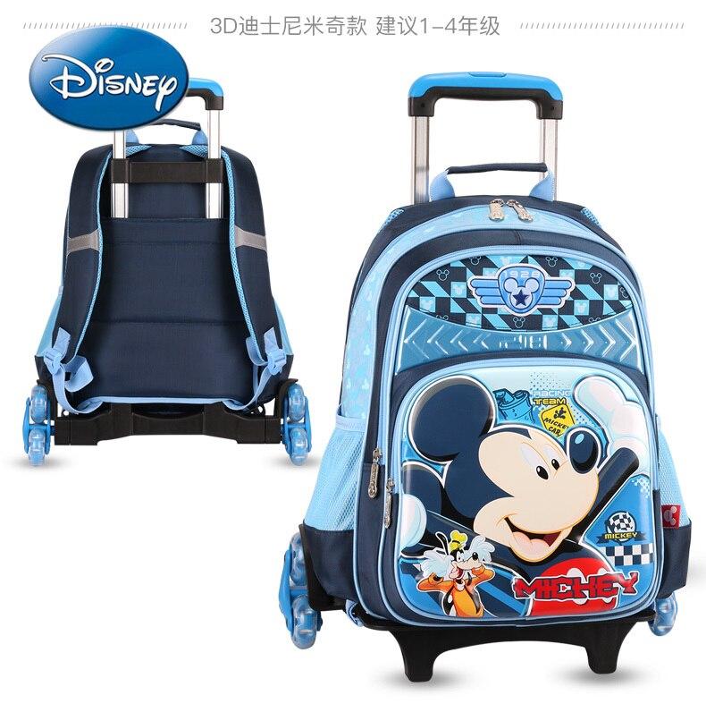 Disney Mickey Mouse Boy Children's Trolley School Bag Large Capacity Travel Trolley Bag School Backpack School Bags