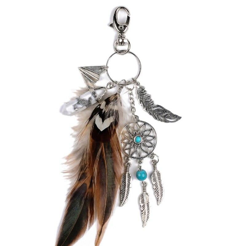 Attrapeur de rêves porte-clés paon plume voiture porte-clés femmes fille bijoux cadeau voiture sacs décoration femmes jour cadeaux