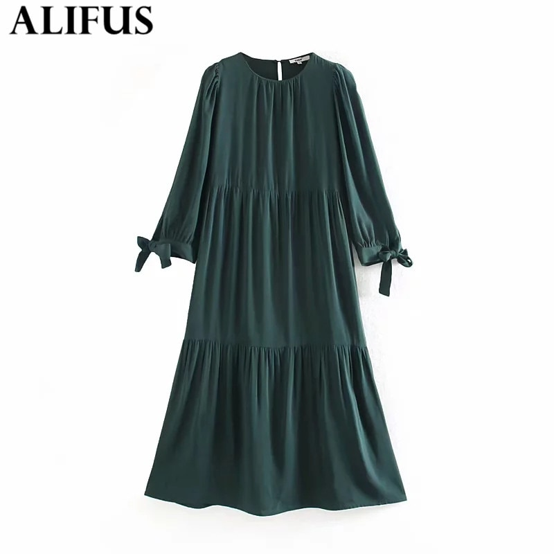 Moda Za vestido de mujer 2019 elegante lazo verde decorar cuello redondo manga larga Vestidos Midi mujer señoras Vestidos mujer