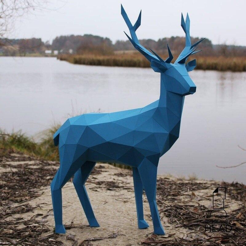 Modelo de papel de ciervo 3D, juguete educativo, decoración para el hogar, decoración para el salón, modelo de papel para bricolaje, regalo para niños