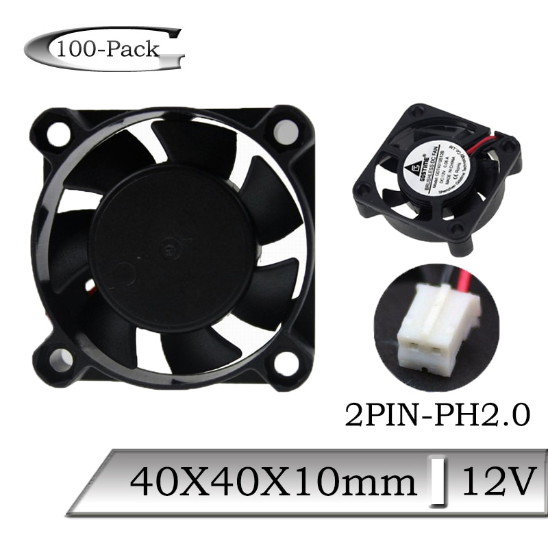 200pcs lot serviceable gdt 2pin 40mm 4010 axial fan 40mmx 40mm x 10mm dc cooling heatsink 100PCS Gdstime DC 12V 2Pin 4010 40mm 4cm 40x40x10mm 7 Blades Computer Axial Cooling Fan
