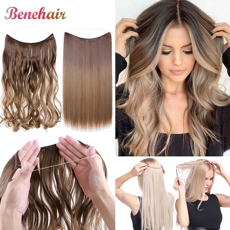 BENEHAIR Invisible Wire No Clips In Hair Extensions Secret Fish Line Hairpieces Synthetic Fake For Women