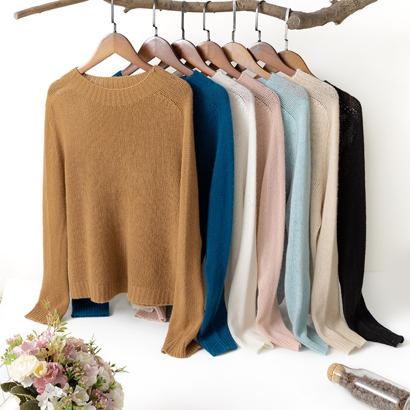 SuyaDream Women Sweaters 95.8%Cashmere 4.2%Wool O neckPullovers 2021 Fall Winter Comfortable Sweaters for Woman White enlarge