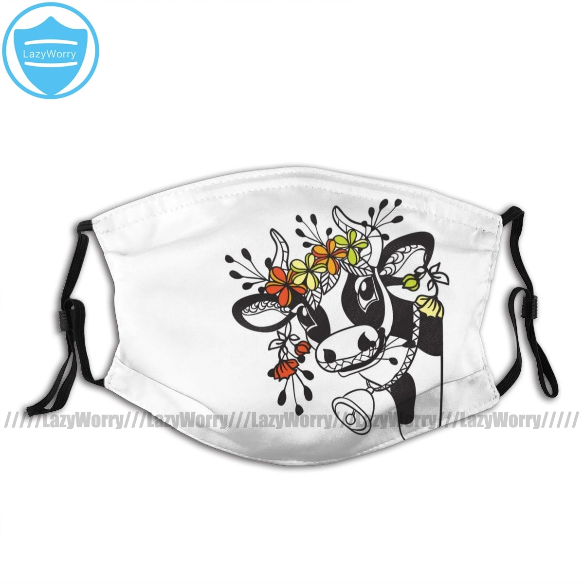 Cow Head Mouth Face Mask Funny Cow Head With Flowers Facial Mask with 2 Filters Pretty Adult Kawai Mask  недорого