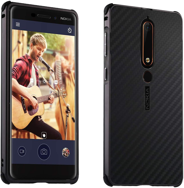 Parachoques de Metal de aluminio para Nokia 6 2018 7 8 X5 X6 X7 funda con patrón de fibra de carbono funda de borde de silicona trasera de plástico