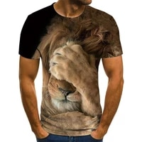 2021 summer new 3d printing lion men and women leisure fashion trend young handsome jacket short sleeve xxs 6xl