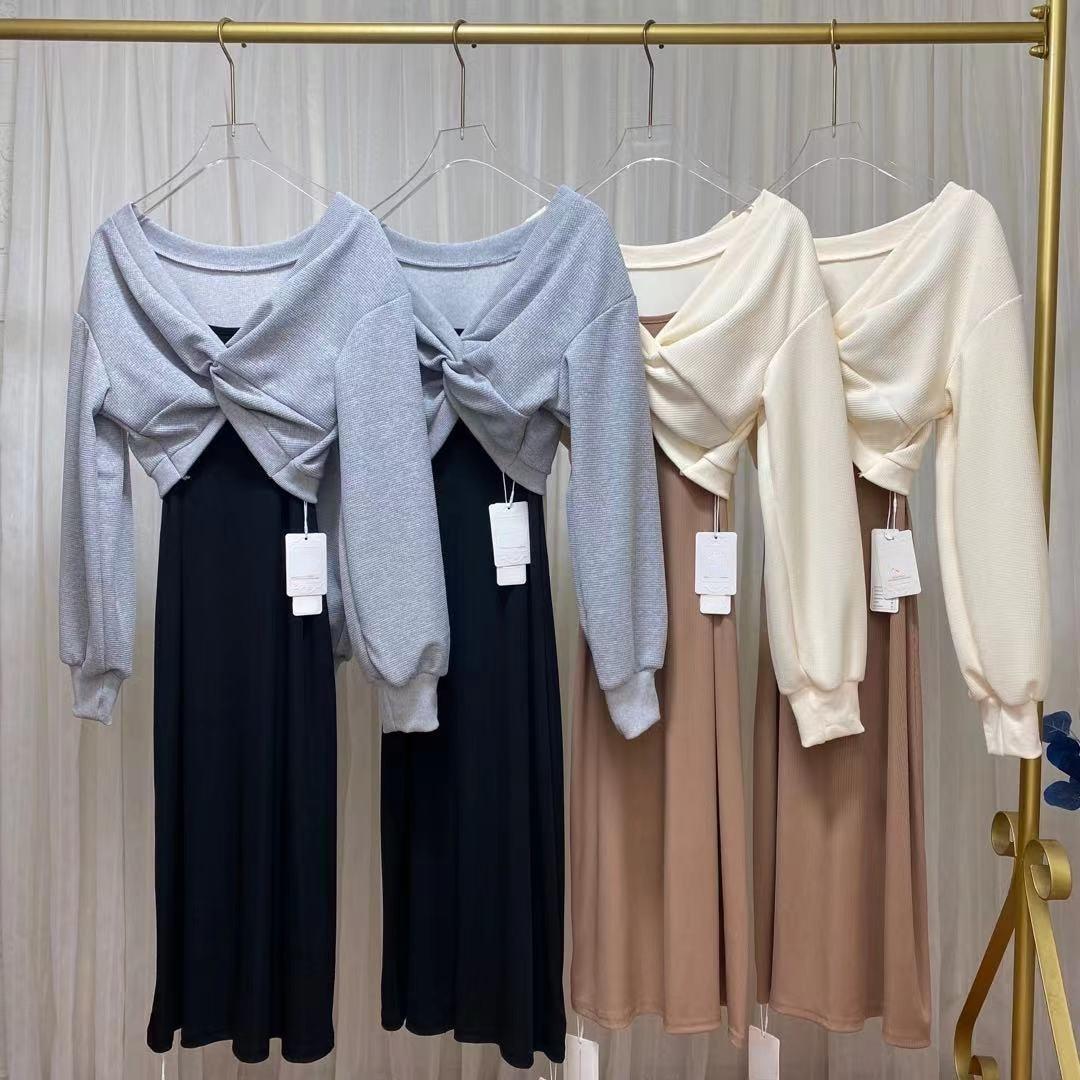 2021 الخريف الكورية موضة رداء غير رسمية المرأة طويلة الأكمام فضفاضة Y2k هوديس + لون نقي حزام فساتين خمر ميدي 2 قطعة مجموعة