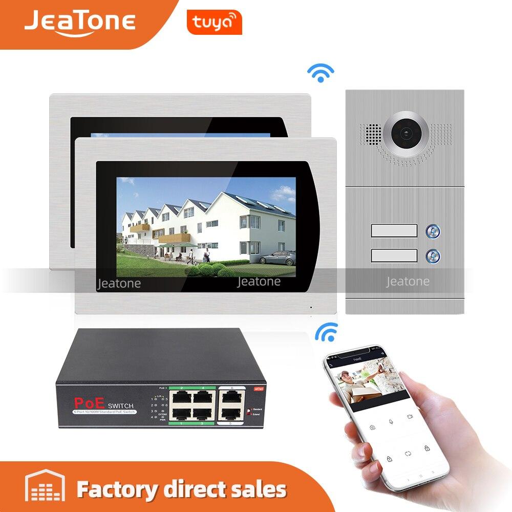 Wifi ip ビデオドア電話インターホンシステムワイヤレスビデオドアベル 7 用のタッチスクリーン 2 床アパート/8 ゾーンアラームサポート ios