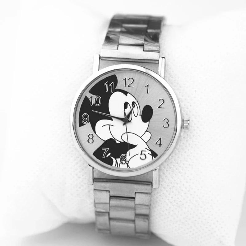 Fashion Mickey Brand Women Watch Stainless Steel Cartoon Casual Quartz Kids watches Girl Boy Gift Re