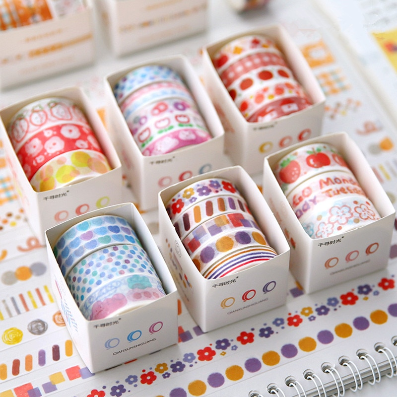 fita adesiva basica e decorativa para caderno 3 5 rolos kawaii washi faca voce mesmo