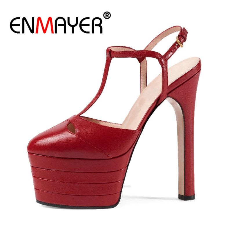 ENMAYER Large Sizes 34-42 Brand Design Summer Women Shoes Woman High Heels Platform Party Wedding Sandals  womens shoes
