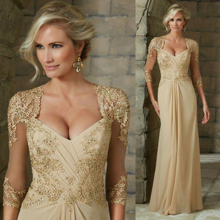 Великолепная V образным вырезом платья цвета шампанского, с короткими рукавами аппликация из шифонового кружева свадебное платье платья дл...