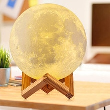 Bedroom Night Light 3D Print Moon Lamp USB Rechargeable Globular Light Color Changing Touch And Remo