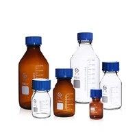 25ml to 2000ml lab transparentbrown blue cap bottle screw cap reagent bottle sealed bottle glass laboratory sample bottle