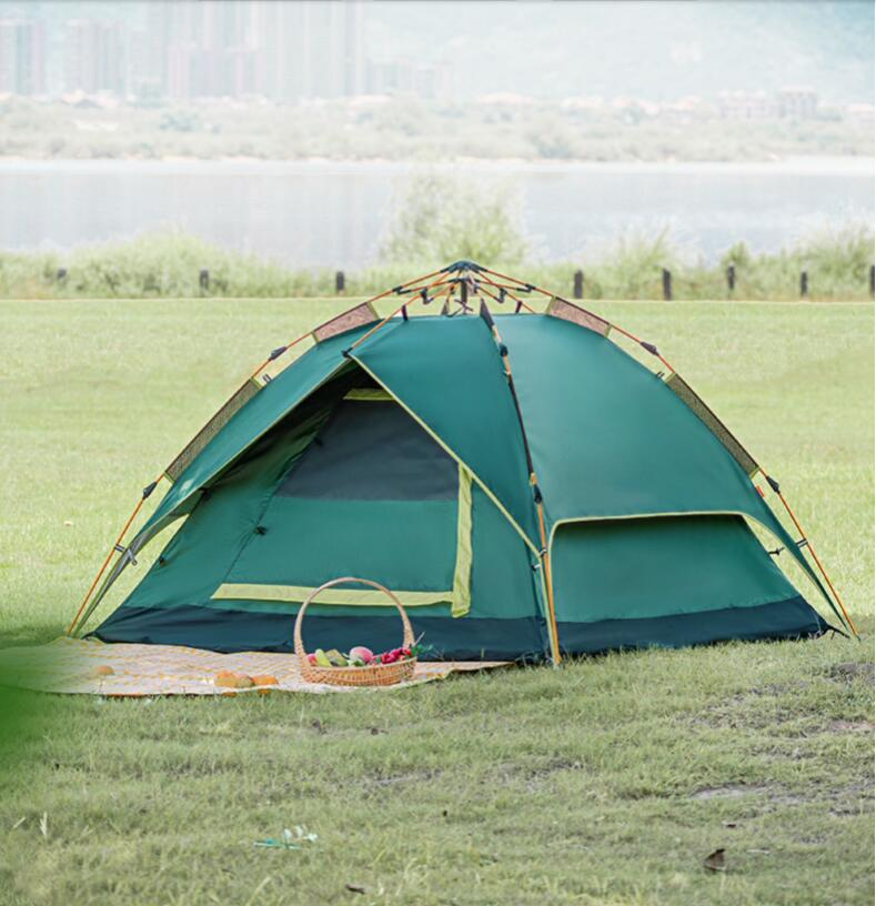 Tent outdoor 2 people 3-4 people thickened rain proof outdoor double camping camping automatic rainstorm proof