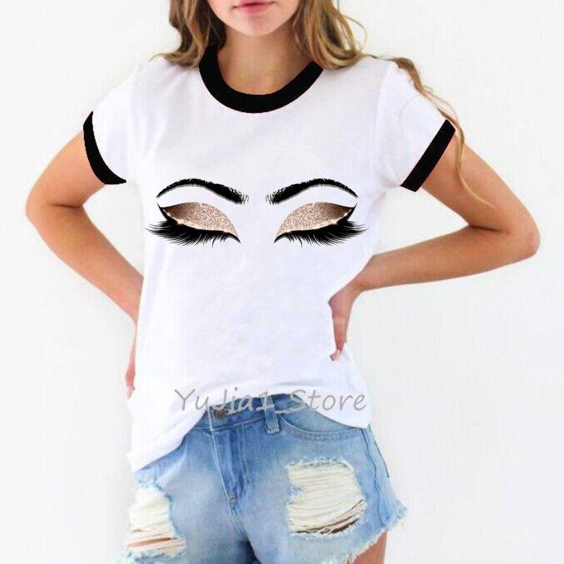 Принцесса макияж искусство розовые ресницы печать vogue футболка для женщин Kawaii футболка tumblr уличная хипстер летний топ Женская одежда