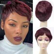 Pixie Cut Wig Colored Short Human Hair Wigs For Women 99J Straight Full Machine Wig Burgundy Brazilian Hair Wigs 150% Remy Hair