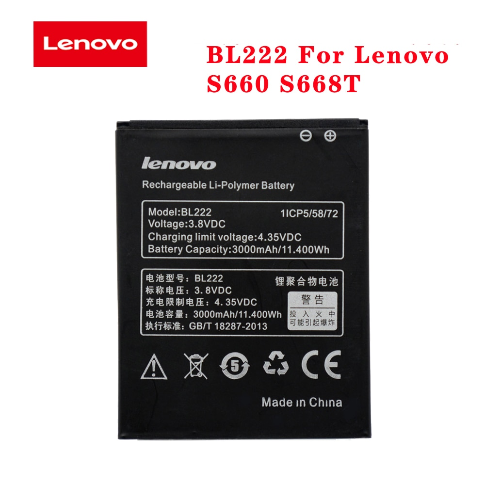 Battery For Lenovo S660 S668T 3000mAh BL222 Original High Quality Cell Phone Rechargeable Batteria akku In Stock