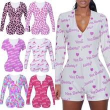 Sexy Women Slim Printed Bodysuit Long Sleeve Button Deep V Neck Bodycon Stretch Leotard Short Romper Pajamas Overalls