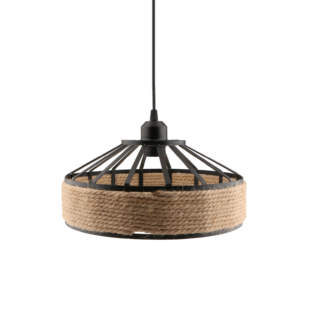 E27 Base Manila Rope Twined Pendant Lightpshade Frame Iron Wire Ceiling Chandelier Hanging Lightshade