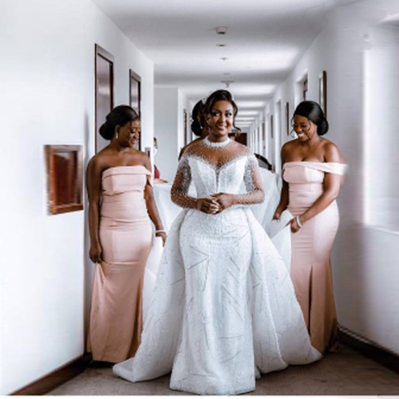 Get Ghana Heavy Beading Mermaid Wedding Dresses With Detachable Train Sheer Neck Long Sleeves Bridal Gowns Vestidos Custom Made 2022
