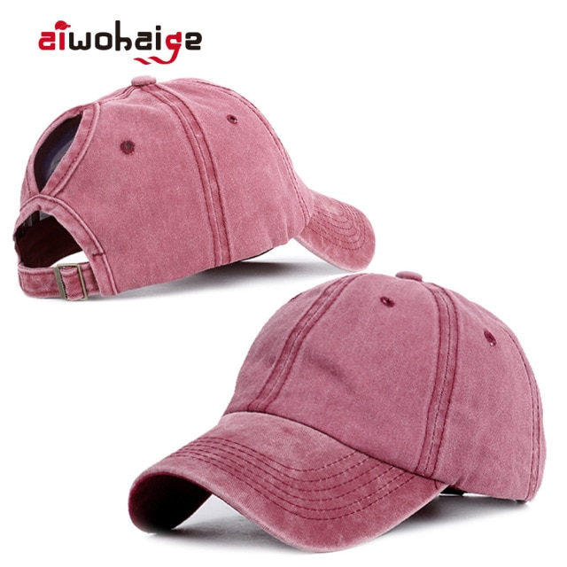 2020 Ponytail Baseball Cap Women Vacation Snapback Hat Washed Cotton Comfort Spring Casual Sport Caps Adjustable Free Shipping