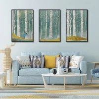 nordic abstract forest landscape canvas painting deer tree poster frameless mural wall art pictures for home decoration