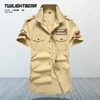 military mens shirts oversized short sleeve shirt pure cotton streetwear casual shirt men clothing chemise homme 6xl mfjh105