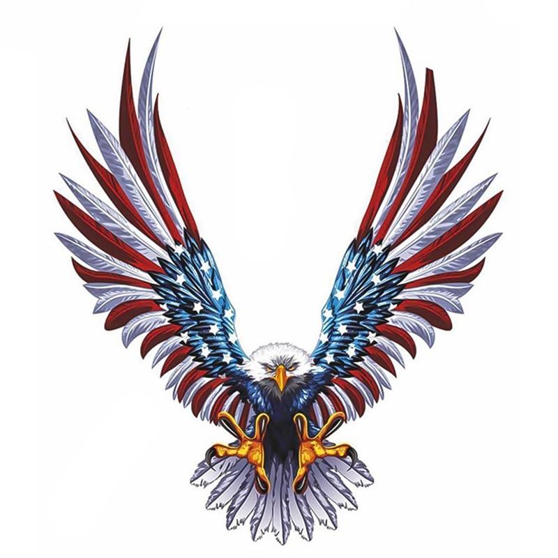 13*15cm Auto Zubehör Motorrad Grafiken Bald Eagle Amerikanischen Flagge Auto Stoßstange/Lkw Vinyl Aufkleber Aufkleber