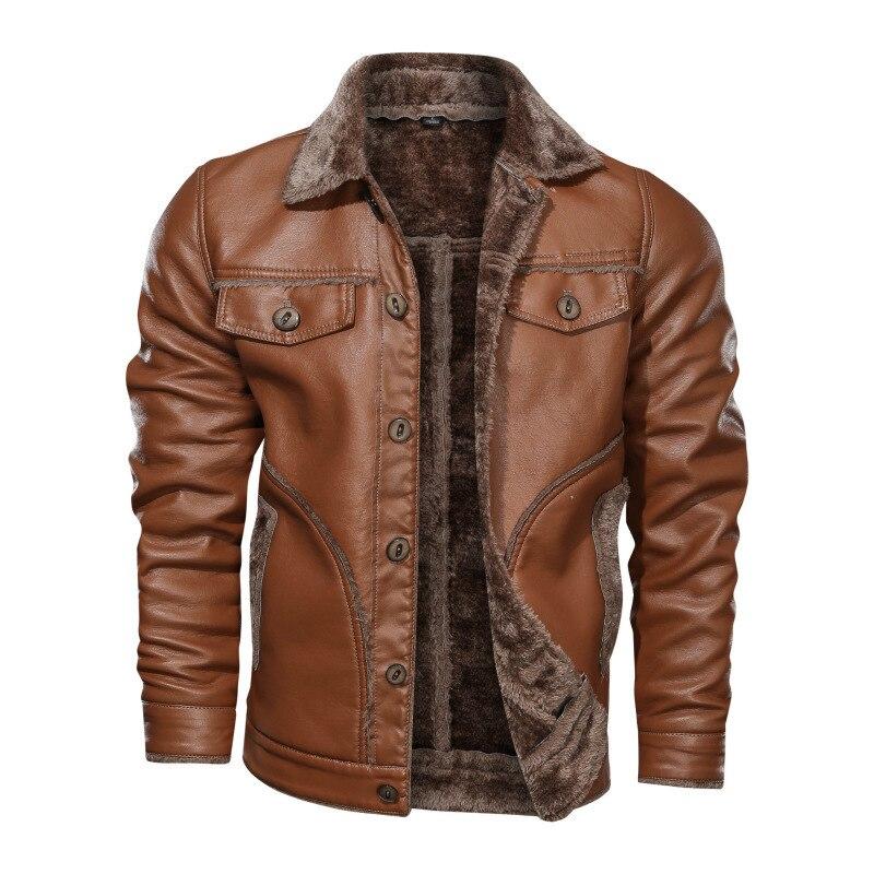 2020 الشتاء سترة جلدية الرجال سميكة الدافئة سترة واقية معطف جلد الرجال حجم كبير M-8XL الصوف دراجة نارية سترة دروبشيبينغ