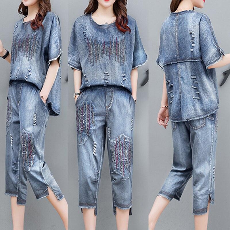 Синий джинсовый костюм, комплект из 2 предметов, Женский ковбойский костюм размера плюс, летняя одежда 2020, костюм из топа с вышивкой и штанов, комплекты одежды свободного кроя