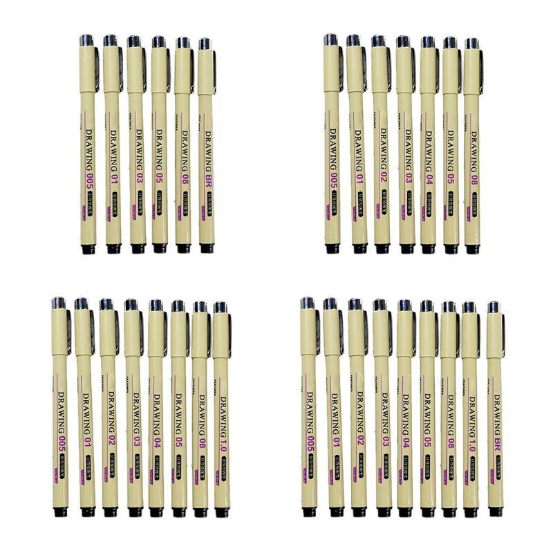 6/7/8/9 pces preto gráfico técnico linha de gancho fino pintura desenho caneta esboço feltro canetas aart suprimentos marcadores papelaria