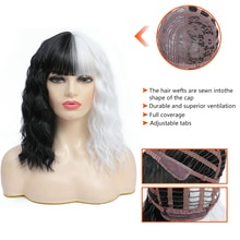 Benegem Cosplay Wigs Female Hair with Bangs Yin and Yang Color Halloween Party Pelucas Synthetic Hig