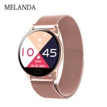 MELANDA 여성 피트니스 스마트 시계 여성 실행 심장 박동 모니터 블루투스 보수계 Smartwatch 2020 시계 reloj inteligente