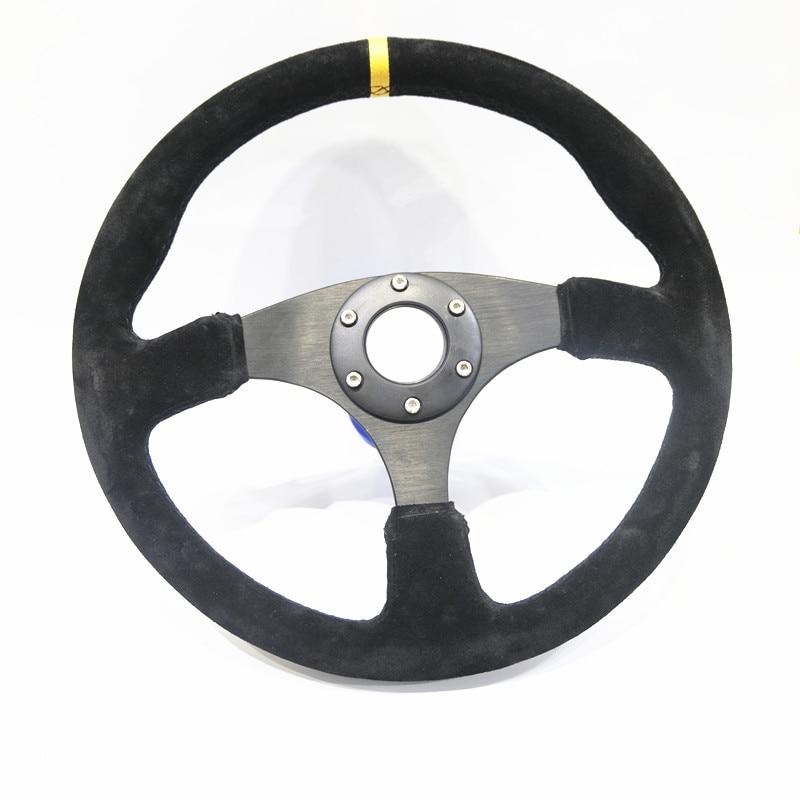 Spsld تجديد سباق 14 بوصة 350 مللي متر شقة الانجراف عجلة القيادة/الجلد المدبوغ عجلة القيادة