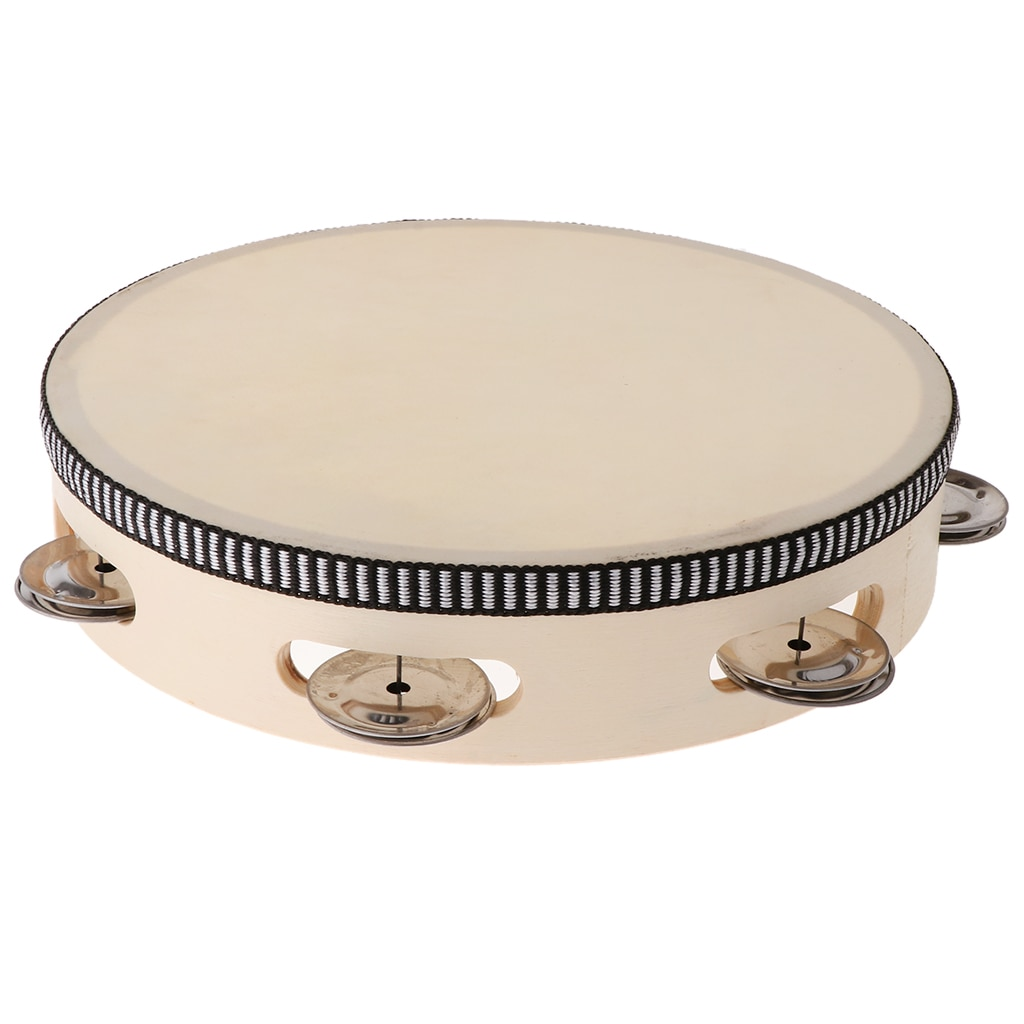 Tambourine for Kids & Children 8 inch Hand Held Drum Bell Wood Percussion Gift Musical Educational Instrument недорого