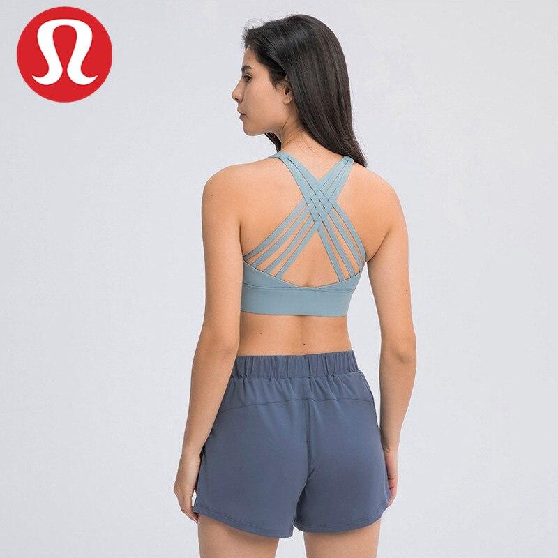 Lululemon-ropa interior deportiva de doble cara para mujer, sujetador multicorrea con espalda...