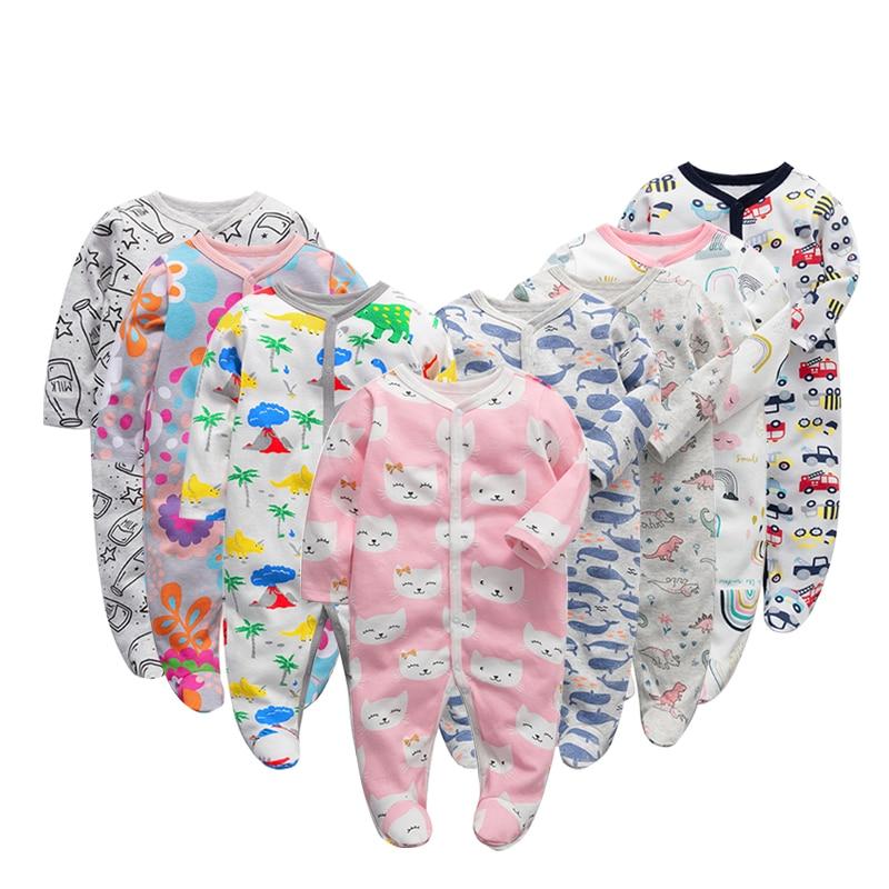 6 Teile/los Neugeborenen Baby Jungen Babys Mädchen Kleidung Footed Overalls Säugling Lange Hülse 3 6 9 12 Monate Kleidung