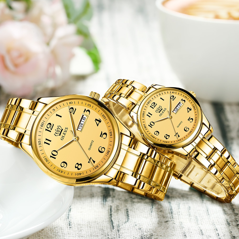 OLEVS Gold Watches for women Quartz Waterproof Stainless Steel Date Arabic numerals lady Watches Gifts for Women enlarge