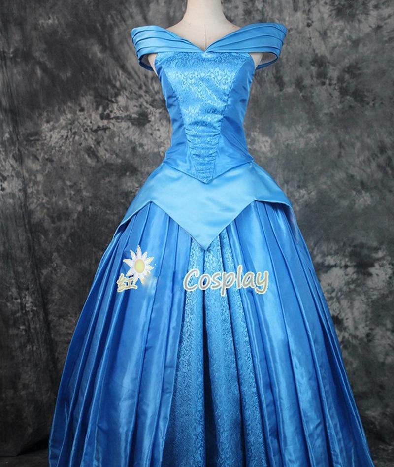 وصل حديثًا 2020 أزياء الأميرة أورورا التأثيرية للنساء البالغات أزياء الحفلات فستان أزرق مصنوع حسب الطلب