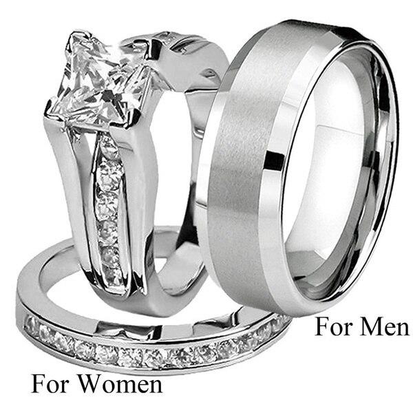 Anel de noivado de zircão branco anel de anel de casamento de aço inoxidável da forma dele e dela jóias anéis de casal presente do dia dos namorados