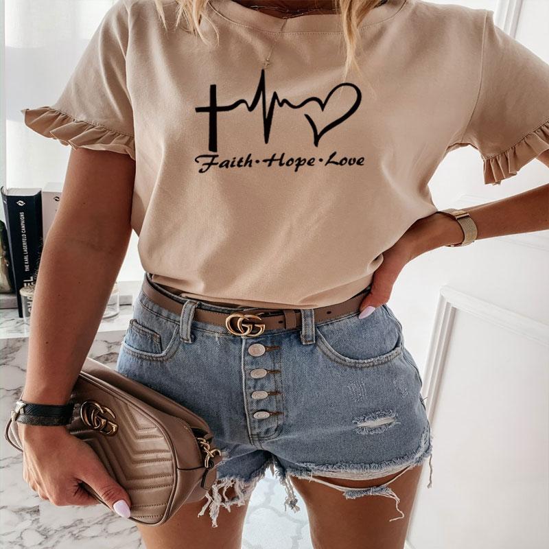 Camiseta de manga de pétalo de verano 2020 para mujer, Camiseta con estampado romántico faith hope, camiseta Harajuku divertida para mujer, ropa de calle coreana, Tops ajustados