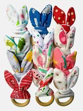 Baby Boy Bunny Ear Teether - Safe Organic Wood Teething Ring, Fish, Plaid, Color Choice, S