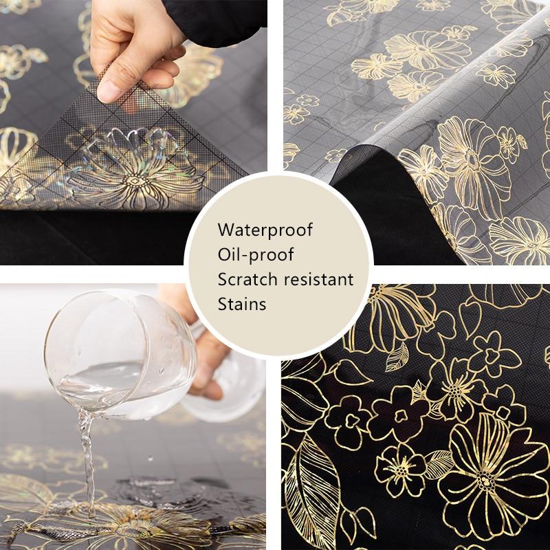 Toalha de mesa impermeável à prova de óleo do retângulo do pvc nebuloso protetor da esteira da mesa de café almofada de mesa de jantar capa para a cozinha